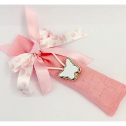 Sacchettino rosa con portachiavi