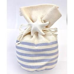 Sacchettino in tessuto righe azzurre con gesso