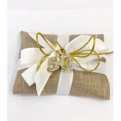 Sacchettino in tessuto oro con ciondolo