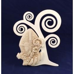 Albero della vita legno con simbolo Cresima ceramica