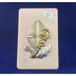 Quadretto in pietra di Costozza soggetto Cresima lam.argento