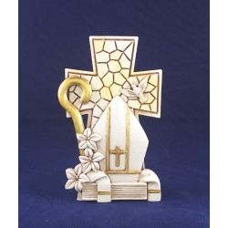 Croce in resina con simbolo Cresima