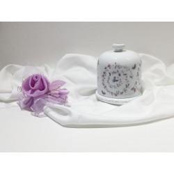 Portaoggetti porcellana potich bianca decorazione fiori e farfalle