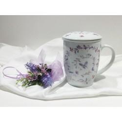 Tisaniera porcellana floreale con filtro