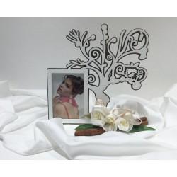 Cornice portafoto in legno marrone e avorio con albero