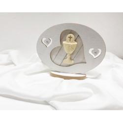 Ovale in legno con cuore di vetro e calice in resina