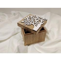 Scatolina legno portaoggetti con albero della Vita in rilievo