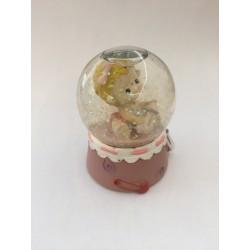 Pallina vetro neve con bambina rosa