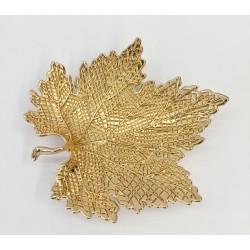 Porta preziosi forma foglia metallo dorato