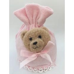 Sacchetto rosa morbidoso con orsetto