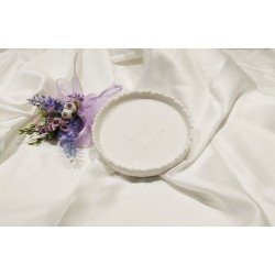 Piattino in porcellana bianca con farfalla in rilievo